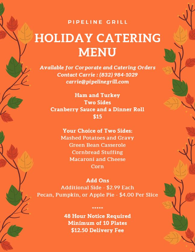 Pipeline's Holiday Catering Menu